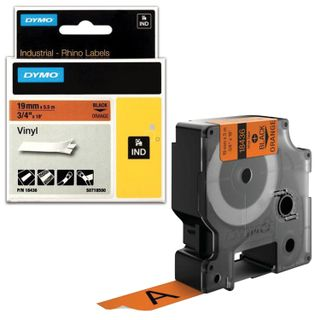 DYMO Rhino label printer cartridge, 19 mm x 5.5 m, vinyl tape, black font, orange