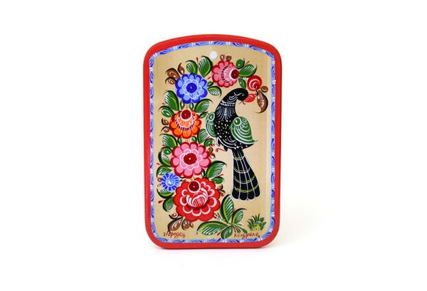 """Gorodets painting / Painted kitchen board """"Bird"""" 240x150x16 mm"""