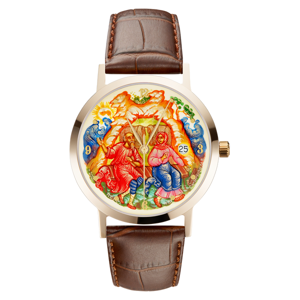 "Palekh watch ""The Tale of the Fisherman and the Fish №31"" quartz, hand-painted, artist Smirnov, braun band"