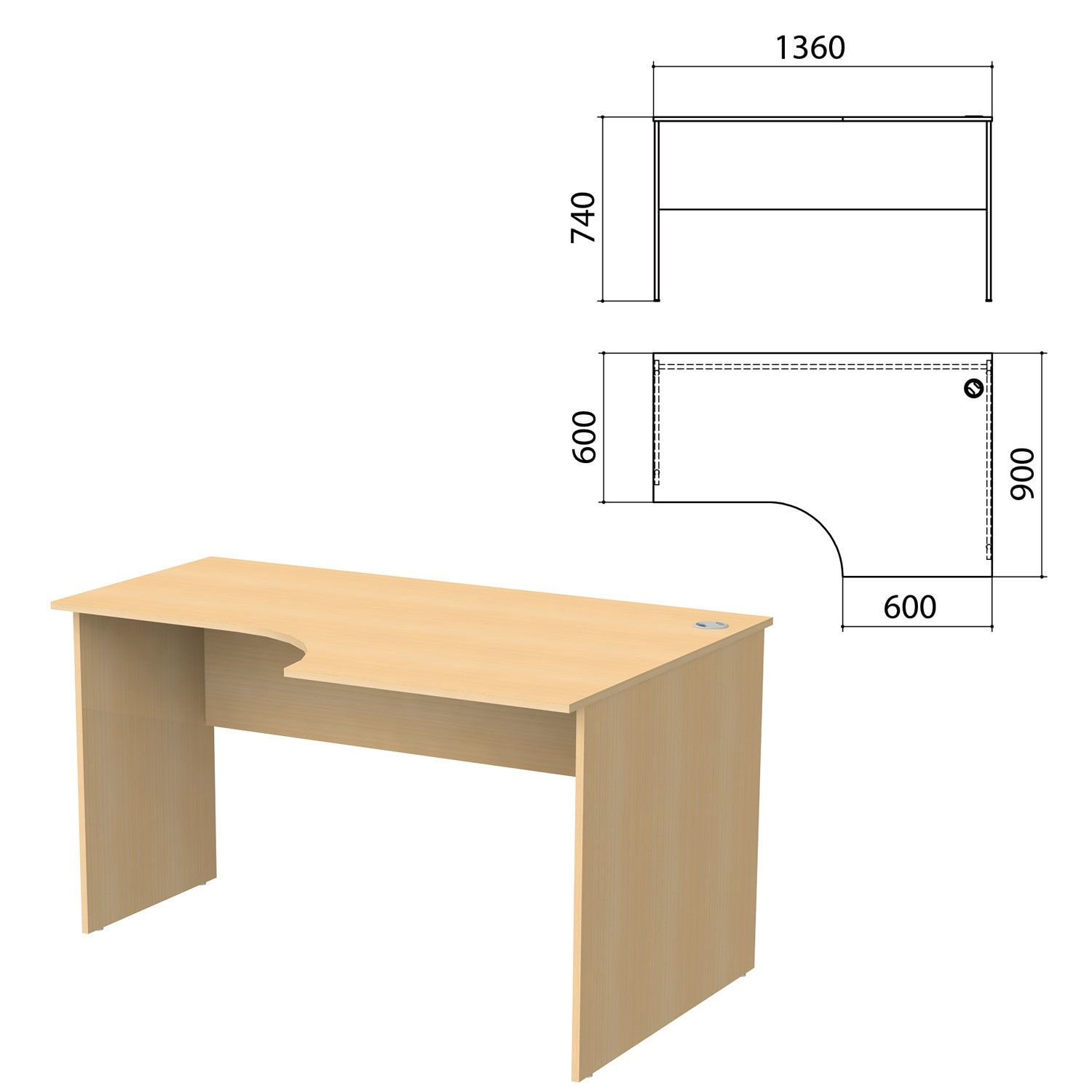 "Table written ergonomic ""Budget"" 1360s900s740 mm, right, beech natural"