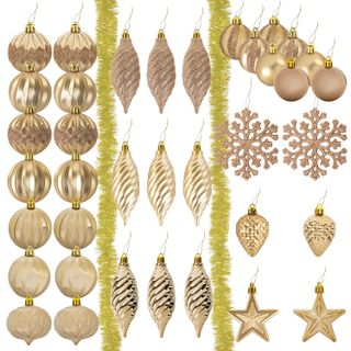 A set of decorations for spruce GOLDEN TALE, 39 items, golden color