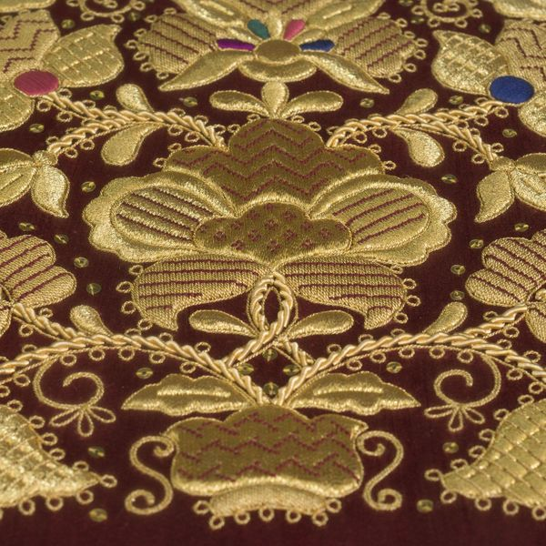 Panels hand embroidery 'Golden bouquet' Burgundy with gold embroidery