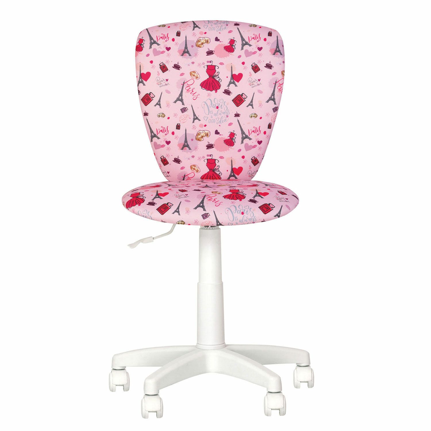 "Children's chair ""POLLY GTS white"" without armrests, pink with a pattern"