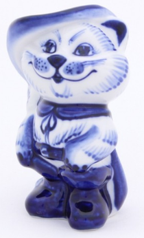'Puss in Boots' - a statuette in the style of Gzhel