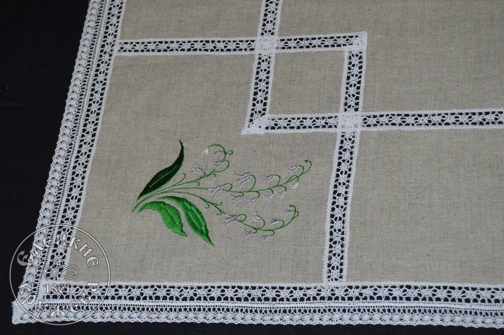 "Yelets lace / Linen countertop ""Lily of the valley"""