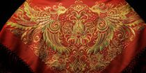 The pre-order. Handkerchief 'the Firebird' red with gold embroidery