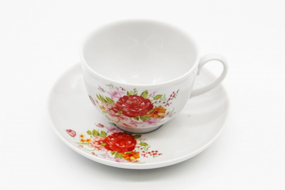 Dulevo porcelain / Tea cup and saucer set, 12 pcs., 275 ml Garnet Natalie
