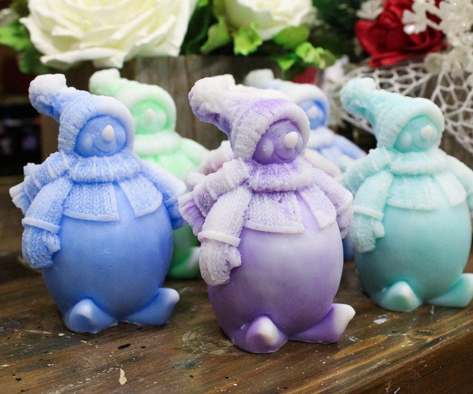 Snow Snowman mix colors handmade soap Christmas