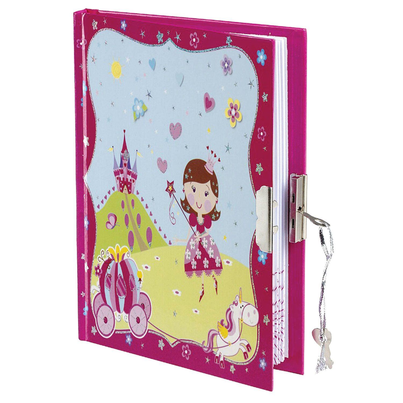 "BRAUBERG / Notebook ""Princess"" SMALL FORMAT 56 sheets A6, 110x150 mm, hardcover, metal lock + pen, line"