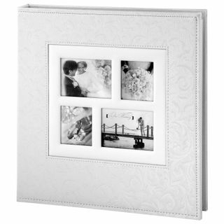 BRAUBERG wedding photo album, 20 magnetic sheets 30х32 cm, the cover is textured under the skin, with rings, white