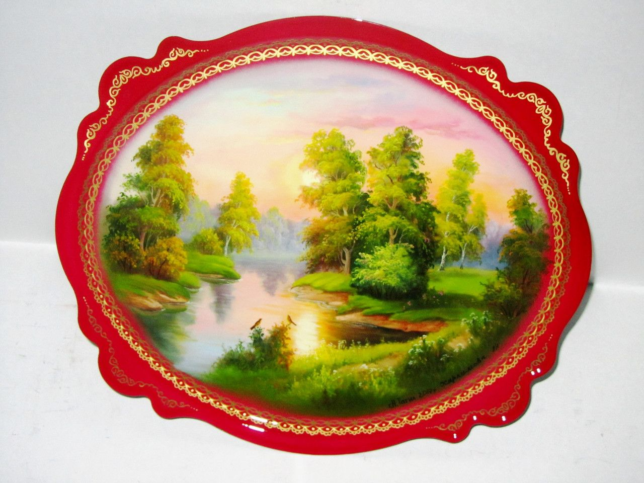 """Souvenirs from N. Tagil / Tray """"Subject painting. Beginning of autumn"""", 30x25 cm"""