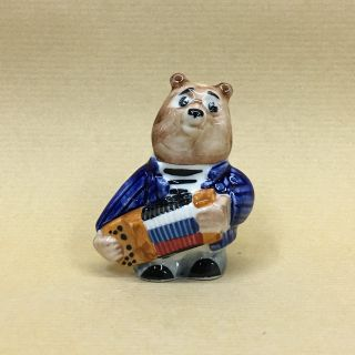 "Porcelain figurine ""Bear with an accordion"" 6cm"