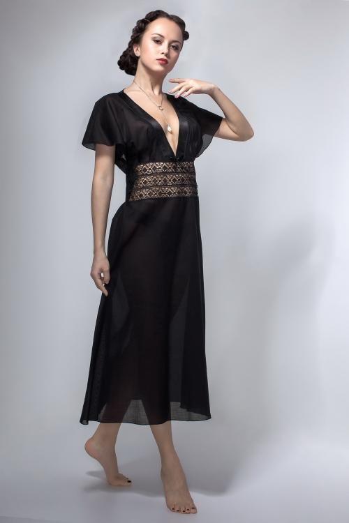 """Chemise nightwear women's """"Black Swan"""" with cap sleeves"""