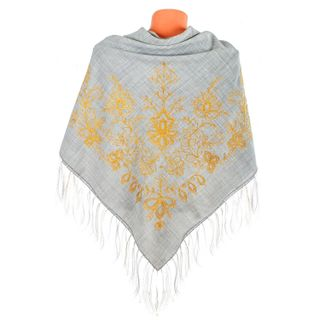 "Handkerchief ""garden of Eden"" grey with gold embroidery"