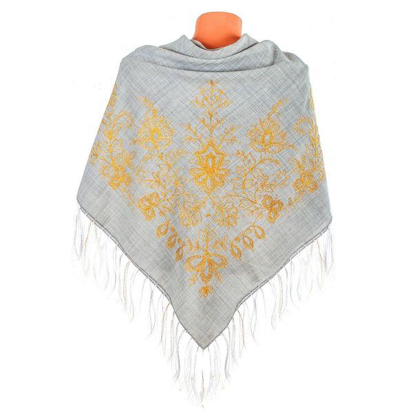 Handkerchief 'garden of Eden' grey with gold embroidery