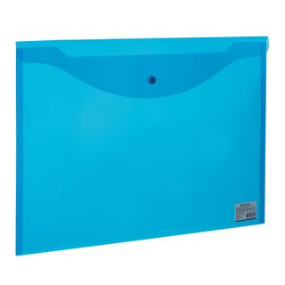 Folder-envelope with button LARGE FORMAT (310х430 mm), A3, transparent, blue, 0.18 mm, BRAUBERG