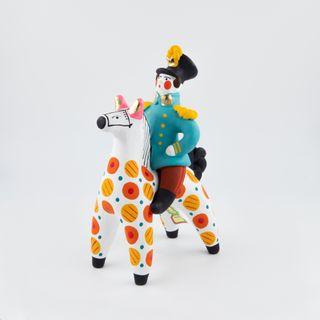 Clay figurine on horseback 7.5 x 20 x 13, Dymkovo toys