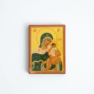 Palekh / Icon of the Mother of God Golubitskaya, 8 * 6 cm, master Smirnov