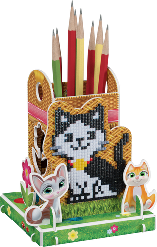 3D puzzle: pencil holder with a diamond mosaic Oscar the cat