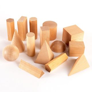 A set of geometric solids 15 parts (numbers) for children from 2 years