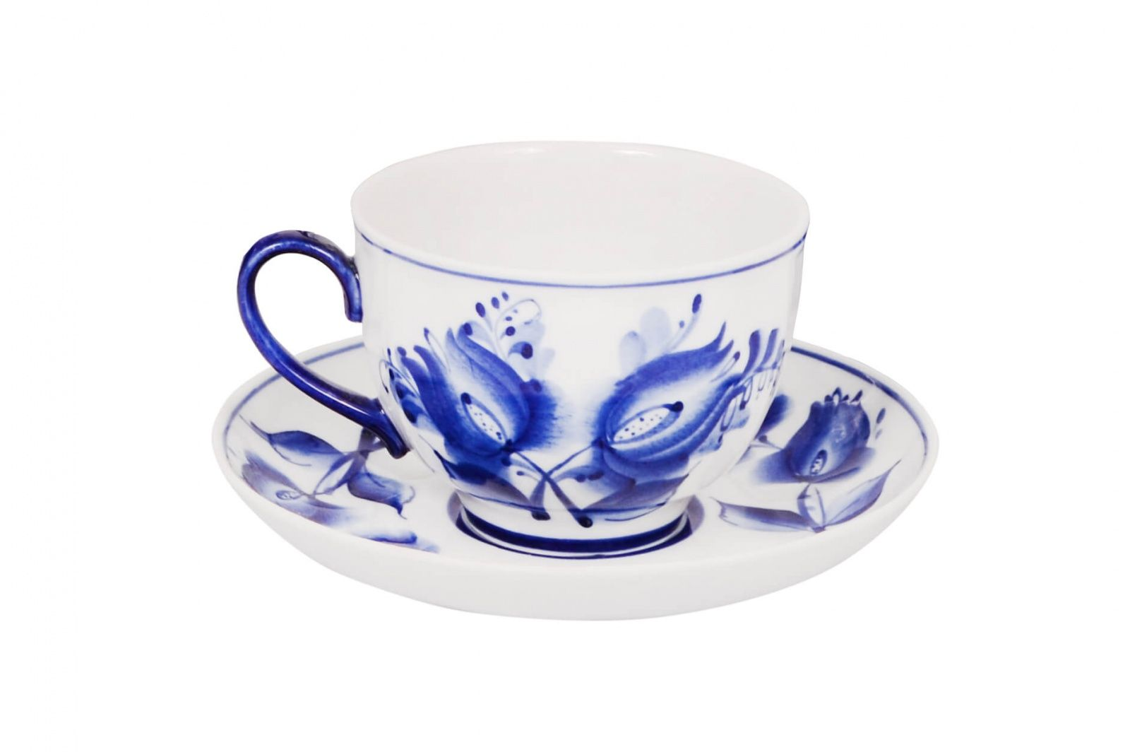 Dulevo porcelain / Tea cup and saucer set, 12 pcs., 275 ml Pomegranate Tulips