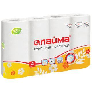 LIMA / Household paper towels white 2-layer, solder 4 pcs., (4x18 m), 22x23 cm
