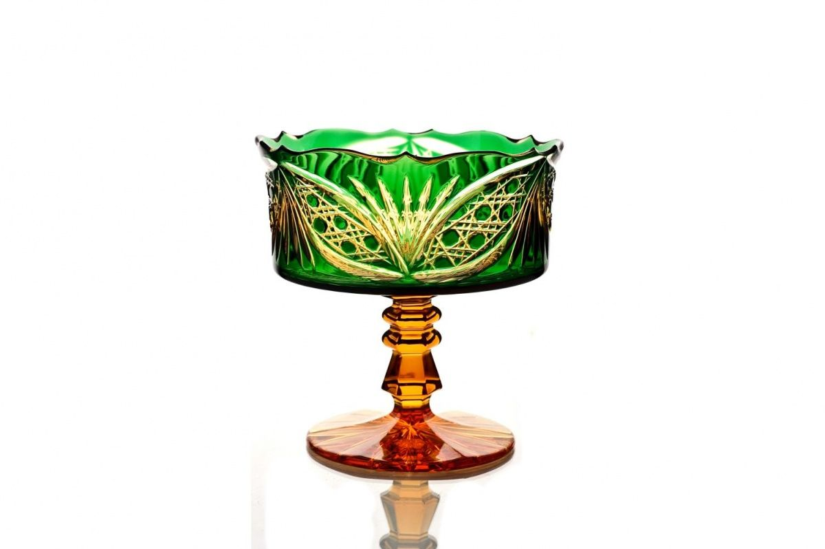"""Crystal vase for cookies """"Swede"""" amber-green"""