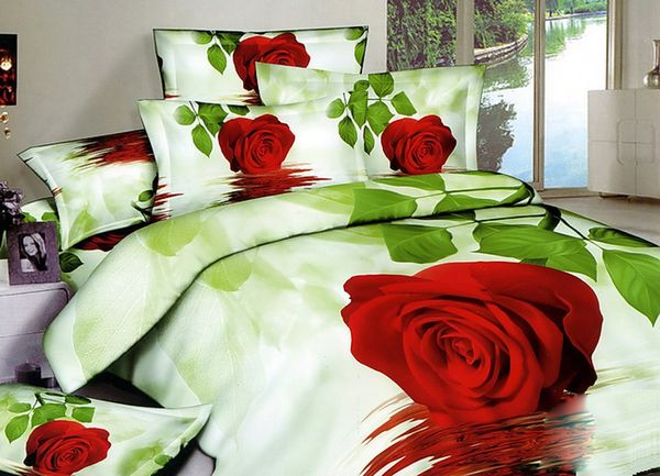 Linen Satin 3D red rose