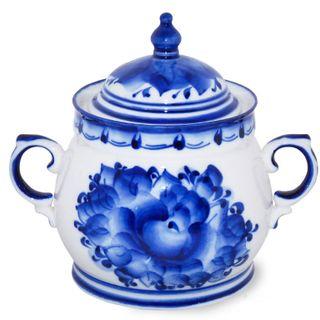Sugar bowl enchantress 2nd grade, Gzhel Porcelain factory