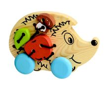 Children's wooden educational toy Lacing 'Hedgehog', 7 pieces