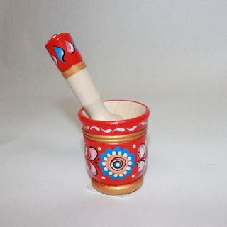 """Mortar with pestle, wooden """"Shenkurskiy red painted"""""""