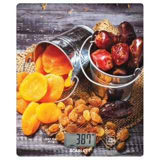 Scales kitchen SCARLETT SC-KS57P33, electronic display, max weight 8 kg, tarcompensation, glass