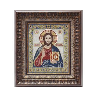 """Icon """"God Almighty"""" white with silver embroidery"""