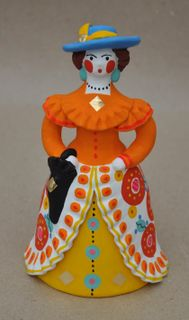 Dymkovo clay toy, the urban Lady with a parasol