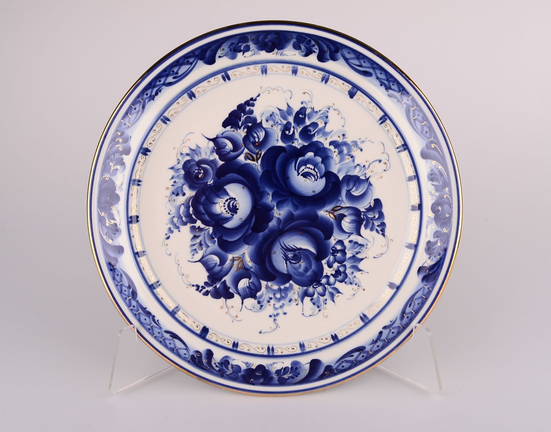 Dulevo porcelain / Wall plate Flowers Gold, diameter 300 mm