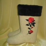 Boots with applique and fur