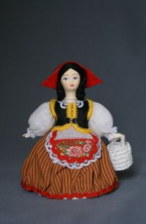 Doll gift porcelain. Little red riding hood. Fairy tale character.
