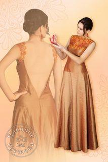 Dress womens linen orange