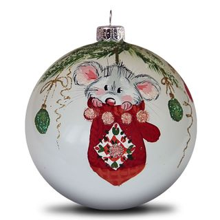 Christmas ball mouse in a mitten