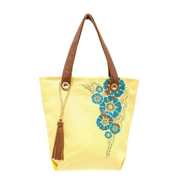 Linen bag 'Louise' yellow color with silk embroidery