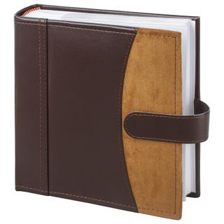 BRAUBERG photo album for 200 photos 10x15 cm, smooth skin, paper pages, a snap closure, dark brown
