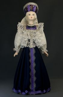 Doll gift porcelain. Vologda lips. Russia. Wedding women's costume. Late 19th - early 20th century.