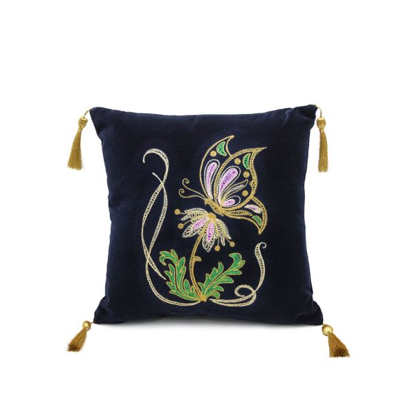 Cushion divan, 'the meadow' in dark blue with gold embroidery