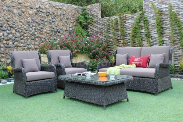 Gray Wicker Patio Sofa Set With Cushions RASF-045A Style 1