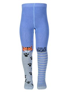 """Tights with a pattern """"Tiger"""" bright jeans melange"""