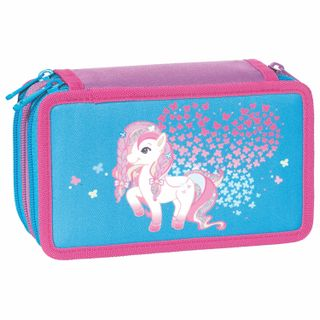 Pencil case TIGER FAMILY with filling, 3 pockets, 28 pieces,