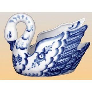 Candy bowl Swan gold Gzhel 400 g