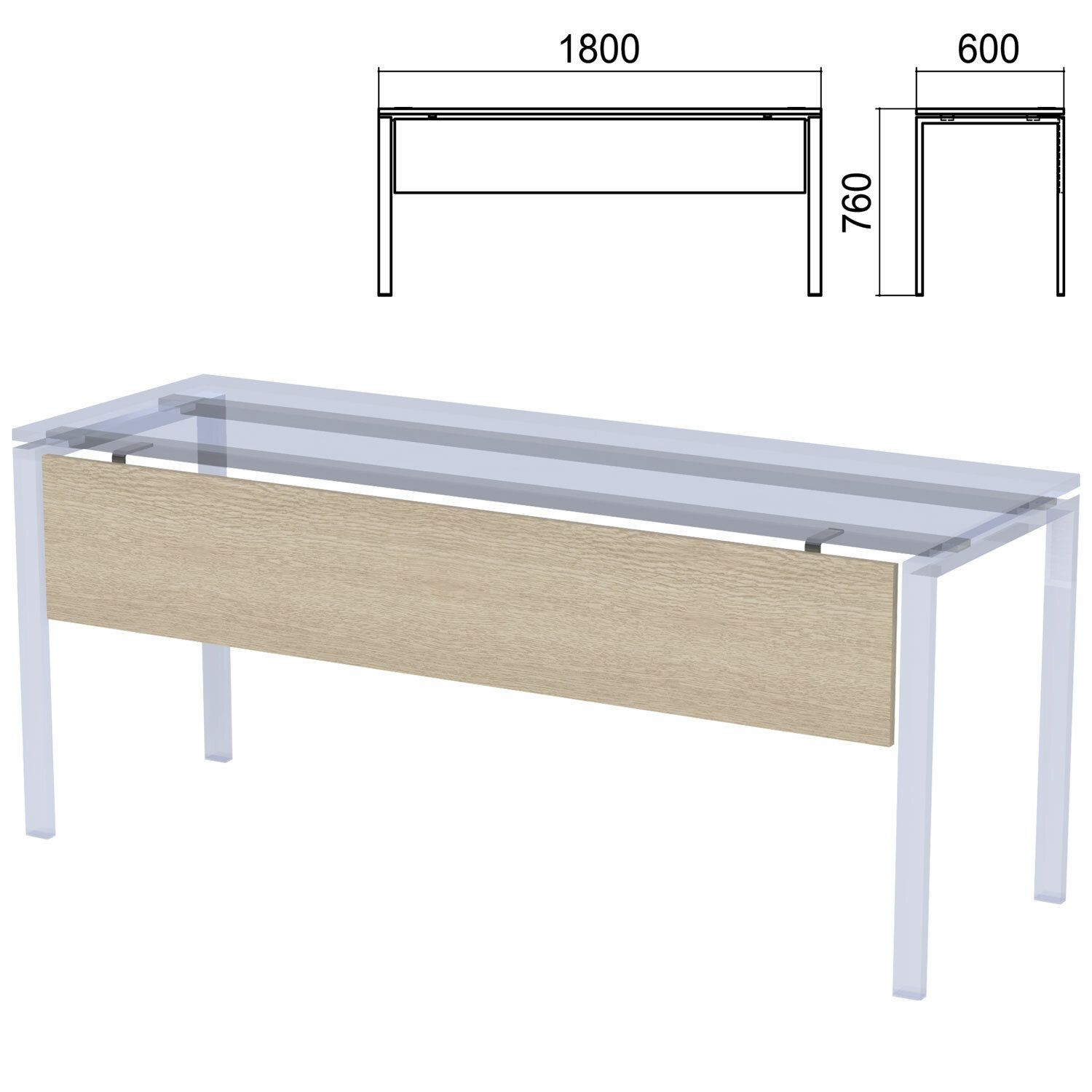"Drawer for tables on metal frame ""Argo"", 1800 mm wide, ash-tree shimo"