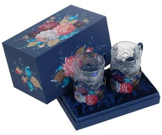 Zhostovo / Set of 2 cup holders in a gift box, author Yurasova I.