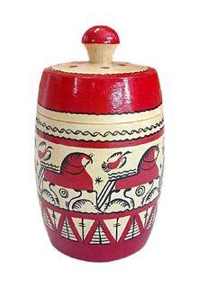"""Wooden barrel """"Mezen painting"""" 14 cm"""